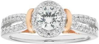Boston Bay Diamonds Two Tone 14k Gold 3/4 Carat T.W. IGL Certified Diamond Halo Engagement Ring