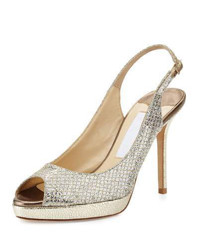 Jimmy ChooJimmy Choo Nova Glitter Platform Slingback Sandal, Champagne