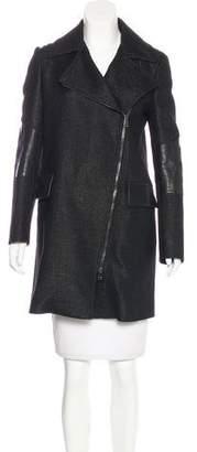 Belstaff Leather-Trimmed Textured Coat