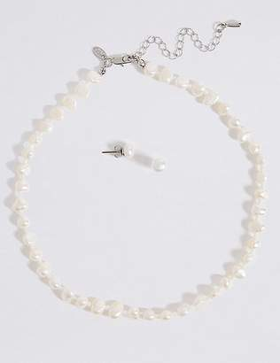 Marks and Spencer Fresh Water Pearl Classic Necklace & Earrings Set
