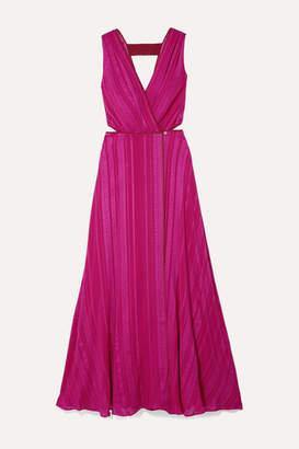 Zeus+Dione ZeusDione - Rosa Cutout Silk-blend Jacquard Wrap Dress - Magenta