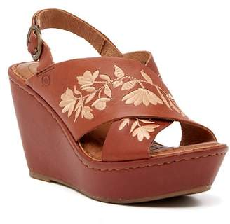Børn Emmy Embroidered Leather Wedge Sandal