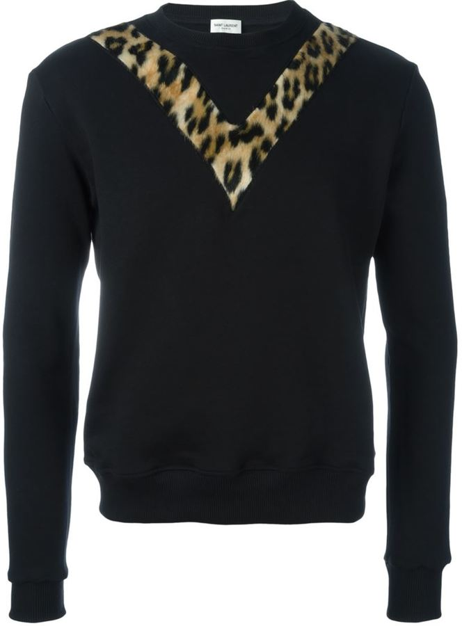 Saint Laurent faux fur panel sweatshirt