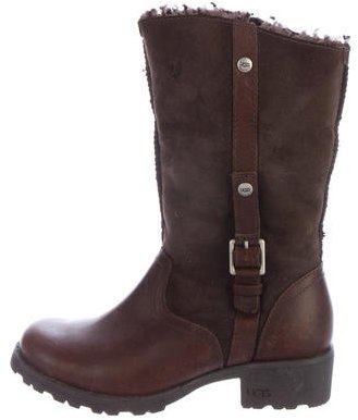 UGG UGG Australia Leather Round-Toe Ankle Boots