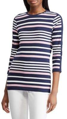 Chaps Petite Straight-Fit Striped Tee