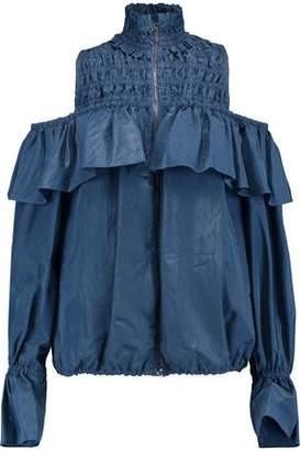 Sea Cold-Shoulder Shirred Shell Jacket