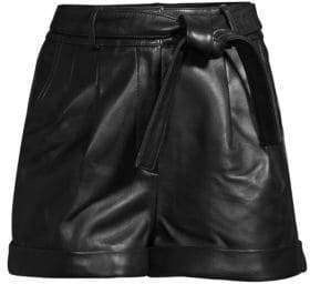 Maje Leather Self-tie Shorts