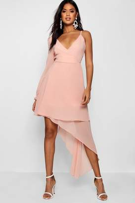 boohoo Boutique Chiffon Asymmetric Wrap Dress