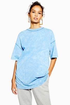 Topshop Womens Petite Acid Wash Tunic Top - Blue