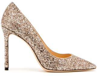Jimmy Choo Romy 100 Glitter Pumps - Womens - Gold