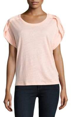 Lord & Taylor Petite Pleated Linen-Blend Top