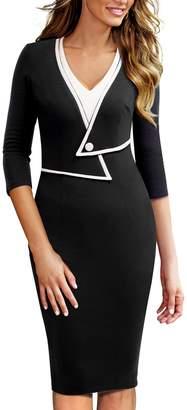 HOMEYEE Women's Elegant V-Neck 3/4 Sleeve Wear to Work Dress B413 (S, )