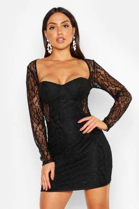 boohoo All Over Lace Mini Dress