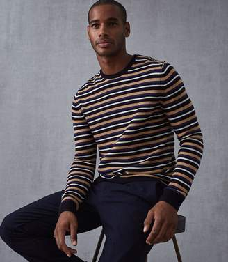 Reiss Our last order date for Christmas has now passed BRINDISI STRIPED CREW NECK JUMPER Navy