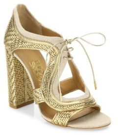 Salvatore Ferragamo Edith Twist Lace-Up Leather Booties $1,190 thestylecure.com