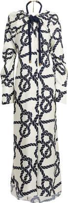 Monse Rope Print Slit Shoulder Gown