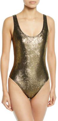 Marie France Van Damme Metallic Jacquard Maillot One-Piece Swimsuit