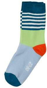 Melton Dark Blue, Pale Blue and Green Striped Socks