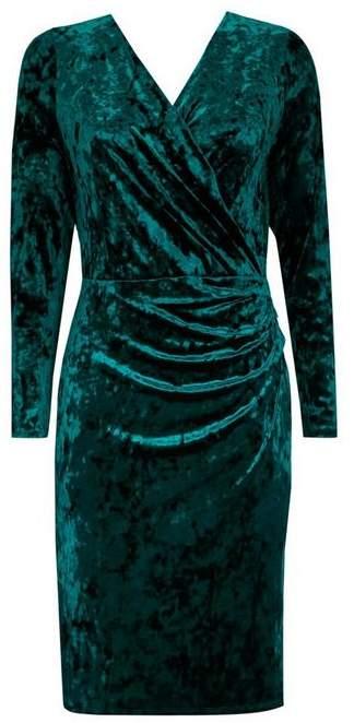 Green Velvet Wrap Dress