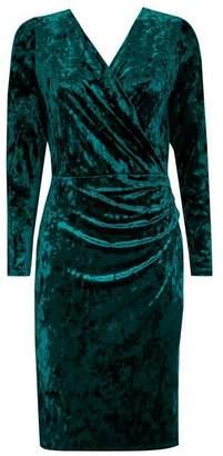 Wallis Green Velvet Wrap Dress