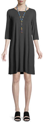 Eileen Fisher Jewel-Neck Jersey Shift Dress, Petite