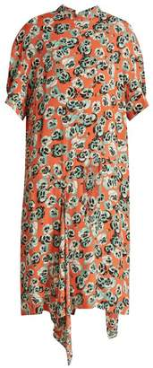 Marni Poetry Flower Print Draped Hem Crepe Dress - Womens - Pink Print