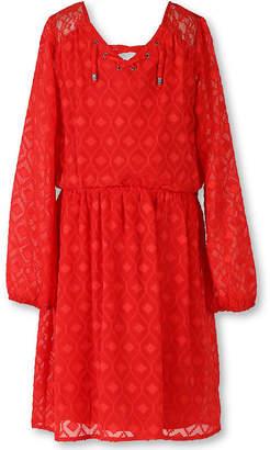 Speechless Long-Sleeve Orange Textured Chiffon Peasant Dress - Girls Regular Sizes