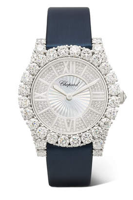 Chopard L'heure Du Diamant 35.75mm 18-karat White Gold, Satin, Diamond And Mother-of-pearl Watch