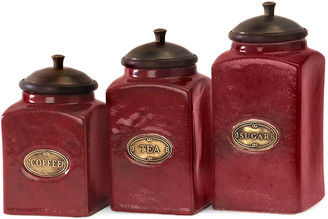 Imax Set Of 3 Red Ceramic Canisters