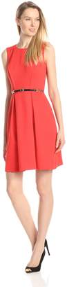 Ellen Tracy Women's Sleeveless Belted Fit and Flare Dress