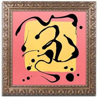 Trademark Fine Art 'Yellow Square On Pink' Ornate Framed Art