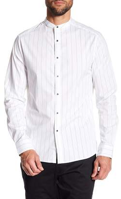 Kenneth Cole New York Pinstripe Mandarin Collar Regular Fit Shirt