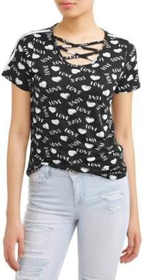 BTWEEN Juniors' All Over Printed Varsity Stripe Short Sleeve T-Shirt