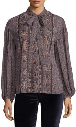 Plenty by Tracy Reese Women's Floral Tie Neck Shirt