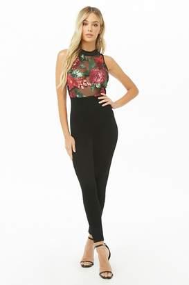 Forever 21 Floral Sequin Jumpsuit