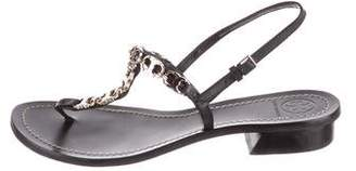 Tory Burch Leather Chain-Link Sandals