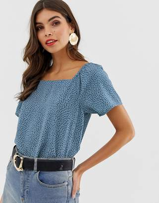Vila spotty square neck top