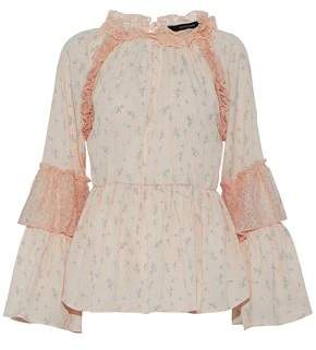 Walter W118 By Baker Lace-Paneled Ruffled Floral-Print Crepe De Chine Blouse