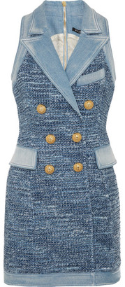 Balmain - Denim-trimmed Tweed Mini Dress - Blue $3,365 thestylecure.com