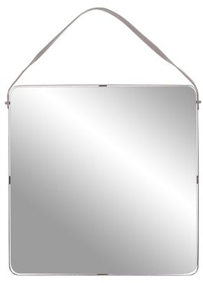Patton Wall Decor Square Metal Mirror with Leather Strap