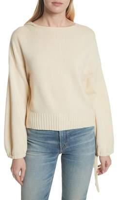 Vince Scrunch Sleeve Wool & Cashmere Hoodie