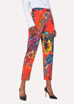Paul Smith Women's Red 'Ocean' Print Stretch-Cotton Pants