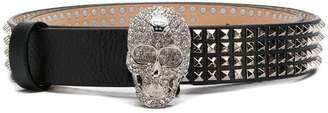 Philipp Plein embellished skull studded belt