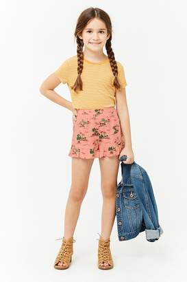 Forever 21 Girls Flamingo Print Ruffle Shorts (Kids)