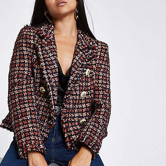 River Island Petite red check boucle double breast jacket