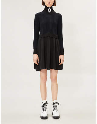 Kenzo Flared A-line knitted and woven mini dress
