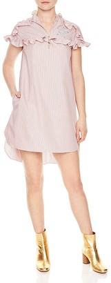 Sandro Sidges Ruffle-Trim Shirt Dress $250 thestylecure.com