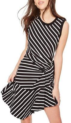 Parker Nicola Striped Ruched Asymmetrical Short Dress