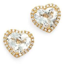 Kiki McDonough 18K Yellow Gold Grace White Topaz & Diamond Heart Earrings