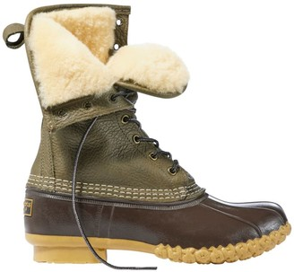 "L.L. Bean Signature Tumbled-Leather L.L.Bean Boots, 10"" Shearling-Lined"